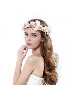 7a6b0474cf handmade Rose Flower Wreath Crown Halo for Wedding Festivals - Pink -  C617YUTZIRR