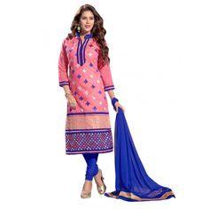 Party Wear Chanderi Pink Salwar Suit Dress Material  - EBSFSK36MB1006
