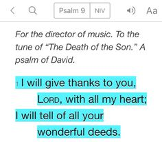 Psalm 9:1 (NIV)