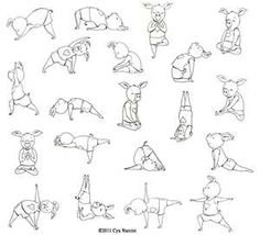 Yoga poses in the classroom with yoga music playing in the background