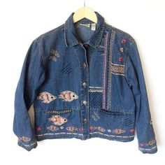 Chicos Design Fish Koi Denim Jean Jacket 1 Small Medium S M Beaded Embellished in Clothing, Shoes & Accessories, Women's Clothing, Coats & Jackets | eBay