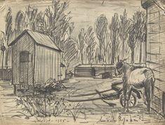 E. Besozzi pitt. 1955 Paesaggio pennarello e carboncino su carta cm. 30x40 arc. 66