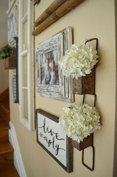 Farmhouse Decor Gallery Wall in Staircase