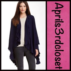 "Cape Blanket Wrap RETAIL PRICE: $85  NEW WITH TAGS  Poncho Cape Blanket Wrap * A super soft knit construction  * Ruffle trim detail * Cozy yet lightweight, soft jersey fabric  * 106"" L X 50"" W; One size fits most.  Fabric: 100% acrylic  Color: Midnight Blue Item:823500  No Trades ✅ Offers Considered*/Bundle Discounts✅ *Please use the 'offer' button to submit an offer. Boutique Tops"