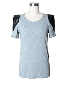 T-shirt in Cotton Main with Contrast Leather Shoulders