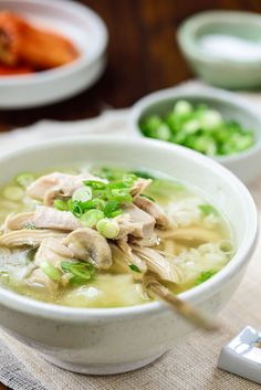 Dak Gomtang (Korean Chicken Soup) - Korean Bapsang - You can make this soothing, comforting Korean chicken soup recipe without a trip to a Korean market - Healthy Slow Cooker, Slow Cooker Soup, Slow Cooker Chicken, Korean Chicken Soup, Chicken Soup Recipes, Whole Chicken Soup, Korean Dishes, Korean Food, Asian Recipes