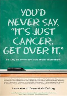 """You'd never say, """"It's just cancer, get over it."""" So why do some say that about depression, anxiety, mental-health or any other disability? Quotes Thoughts, Life Quotes, Sad Quotes, Inspirational Quotes, Bipolar Quotes, Anxiety Quotes, Uplifting Quotes, Random Thoughts, Quotable Quotes"""
