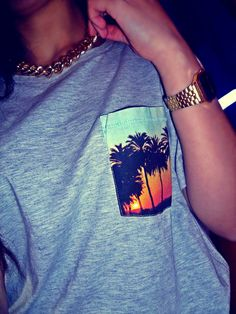 Palm tree pocket tshirt - casio gold watch
