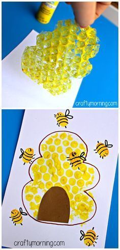 Bubble Wrap Beehive + Fingerprint Bee Craft – Crafty Morning – Tiere_Bienen – Home crafts Bee Crafts For Kids, Daycare Crafts, Summer Crafts, Toddler Crafts, Art For Kids, Arts And Crafts, Bees For Kids, Art Project For Kids, Quick Crafts