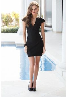 black v-neck bodycon dress, I love this site, reasonable prices!
