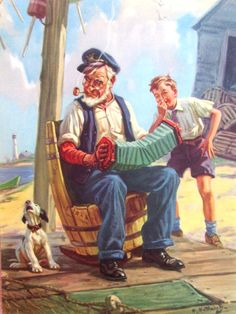 Original HY Hintermeister Calendar Sample Dow Litho Grandpa Accordion Dog Boy | eBay HENRY HINTERMEISTER