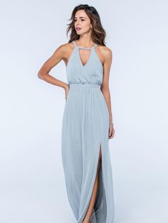This elegant pale blue dress from the Watters Bridesmaids collection has been beautifully designed with key-hole style neckline and features small buttons and a self-tie bow at the back. Product name Fleurette 2512 in French Blue.  View more Bridesmaid dresses from our Watters collection at: http://www.baroqueboutique.co.uk/bridesmaids/  Photographs courtesy of: https://www.watters.com/watters/bridesmaids/