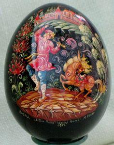 Vintage Russian Lacquer Egg Palekh Folk Art Humpbacked Horse Fairy Tale Signed | eBay
