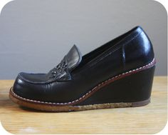 shoes - had a pair just like this for school. Gave me dreadful blisters, but I kept on wearing them! Got the scars to prove it 1970s Childhood, My Childhood Memories, Best Memories, Leather Wedges, Leather Loafers, Loafers Men, Wedge Loafers, Black Loafers, Wedge Shoes