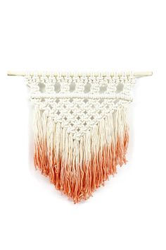 Dip Dyed Macrame Wall Hanging. Love this fresh pop of peach! Made by hand. $98 + 7% of proceeds goes back to non profits!