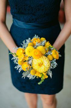 yellow bridesmaid bouquet #navywedding #yellowwedding #weddingchicks http://www.weddingchicks.com/2013/12/26/navy-and-yellow-wedding-2/