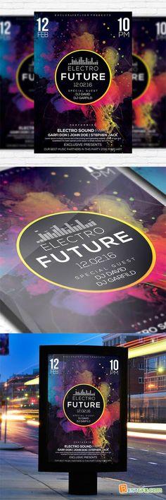 Flyer Template - Electro 2 + Facebook Cover