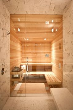 Ahhhhh... steam room and sauna. Wouldn't this be a dream to come home to?... to melt the day's cares away....