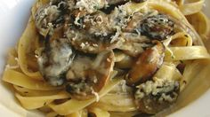 Chef John's Creamy Mushroom Pasta - A beautiful, aromatic, creamy mushroom sauce coats hot cooked fettuccine pasta in this quick dish. You can use any kind of pasta you like. Creamy Mushroom Pasta, Creamy Mushrooms, Stuffed Mushrooms, White Mushrooms, Creamy Pasta, All You Need Is, Just In Case, Recipes, Fernando Torres