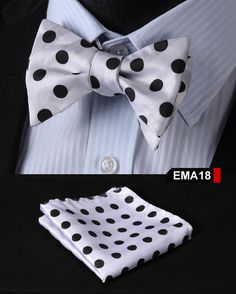 Polka Dot Paisley Floral Men Silk Woven Pocket Square Self Bow Tie Handkerchief Set