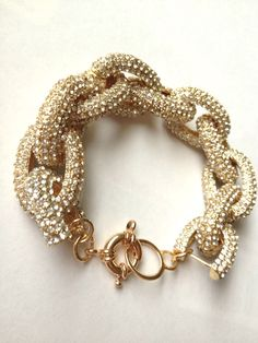 Gorgeous J.Crew Inspired Pave Crystal Rhinestone Chain Link Chunky Bracelet Gold Metal Gift Holiday. $50.00, via Etsy.