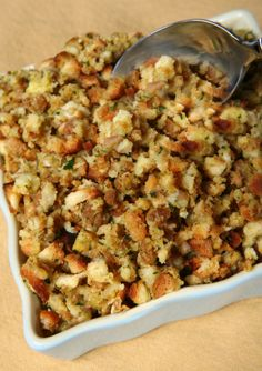 Sage, Onion and Smoked Bacon Stuffing - Recipes for Your Thanksgiving Feast on HGTV Stuffing Recipe With Bacon, Crockpot Stuffing, Stuffing Recipes For Thanksgiving, Gluten Free Thanksgiving, Holiday Recipes, Dinner Recipes, Vegan Stuffing, Thanksgiving Dressing, Sausage Stuffing