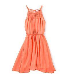GB Girls 7-16 Smocked Collar Dress - Neon Orange