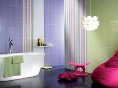Badezimmer Keramik Fliesen Lila Braun Streifen Bunt Simple