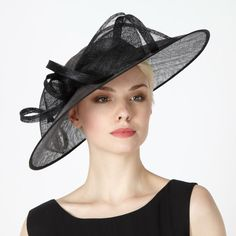 This black metallic occasion fascinator from Hat Box has a ribbon design to the front and a wide rim. Debenhams Wedding Hats, Wedding Fascinators, Church Hats, Hat Boxes, Ribbon Design, Fascinator Hats, Hat Hairstyles, Kentucky Derby, Metallic