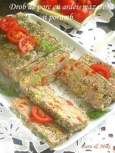 Drob de porc cu ardei, mazare si porumb Meatloaf, Mozzarella, Sushi, Bacon, Ethnic Recipes, Food, Salads, Essen, Meals