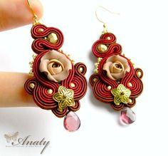 Dark red statement earrings Art jewelry Polymer by anatydesign