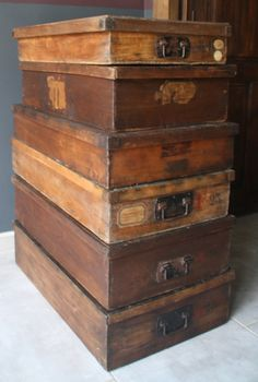 A collection of vintage wood boxes from an old haberdashery - Le Beau Est Mien
