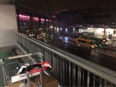 Raining. Arrive at Heathrow Airport