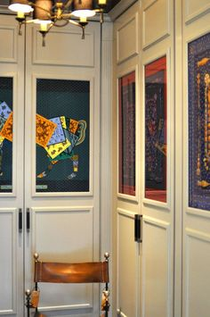 contemporary home office by Janet Paik, closet doors lined with scarves