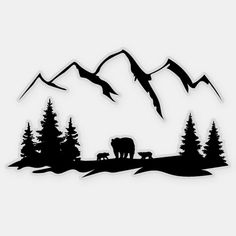 Mountain Silhouette, Bear Silhouette, Forest Silhouette, Bear Tattoos, Ship Tattoos, Arrow Tattoos, Word Tattoos, Tatoos, Bow Hunting Tattoos