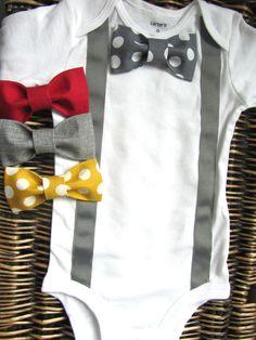 Baby Boy Clothes  Bow Tie Onesie  Suspenders by SewLovedBaby, $17.99