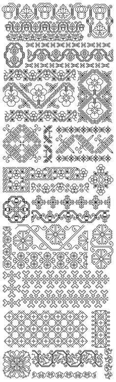 My grandmother used to sew costumes for Broadway and I have alot of her needlework with some of these designs. More Blackwork inspiration