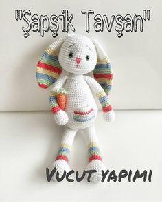 ( ・ ・ ・ Bunny Rabbit Body-Made 😊 - Crochet Rabbit Free Pattern, Easter Crochet Patterns, Crochet Dolls Free Patterns, Crochet Diy, Crochet Crafts, Crochet Projects, Simple Crochet, Crochet Rope, Knitted Bunnies