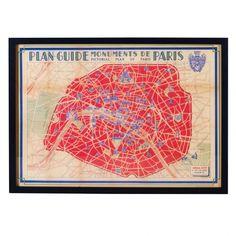Vintage Paris Map Frame