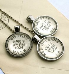 Personalized postmark style necklace - childrens names, birthdates, wedding date, or your special message; more custom items from CrowBiz