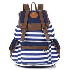 5e9867dd7e7a Unisex Fashionable Canvas Backpack School Bag Super Cute Stripe School  College Laptop Bag for Teens Girls