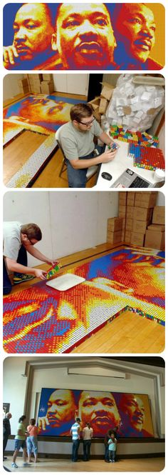 Well done, nerd guy. Mosaic made of 4,242 Rubik's Cubes