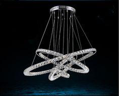 Modern stainless steel 4 Rings Crystal LED Chandelier Light Fixture Crystal Light Lustre led Light 56w