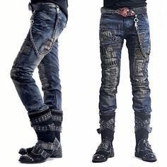 Blue Personalized Alternative Punk Emo Fashion Jeans Men Clothes Wholesale