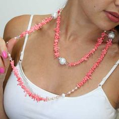 Pink Coral Beaded Necklace    FromRussia.com
