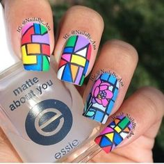 What a fantastic idea of geometric art design for square nails!