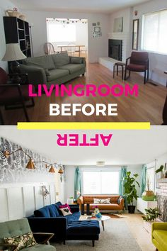 LIving room before & after with @article #svensectional