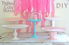 A Bubbly Life: Cake Stands Galore Thrifty DIY! for the top of Grandmother Pearl's china cabinet!!
