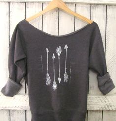 FREE SHIPPING- Hipster Arrow Off Shoulder Sweatshirt, Off shoulder Sweater, (women, teen girls). $36.50, via Etsy.