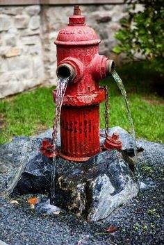 A garden fountain made from an old hydrant!